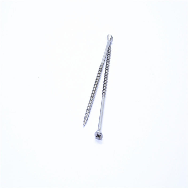 Countersunk head cross recessed ribbed fiberboard screw
