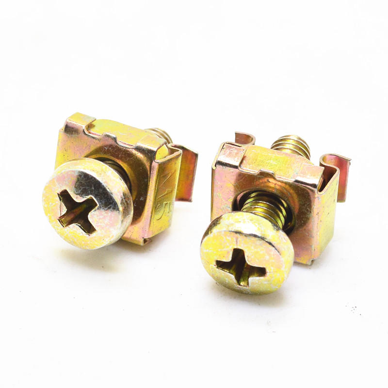 Yellow  zinc plated pan head screw with cage nut