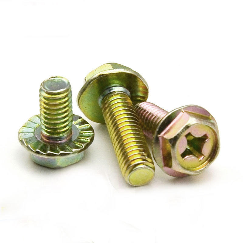 Yellow zinc plated Phillps hexagon flange head bolt